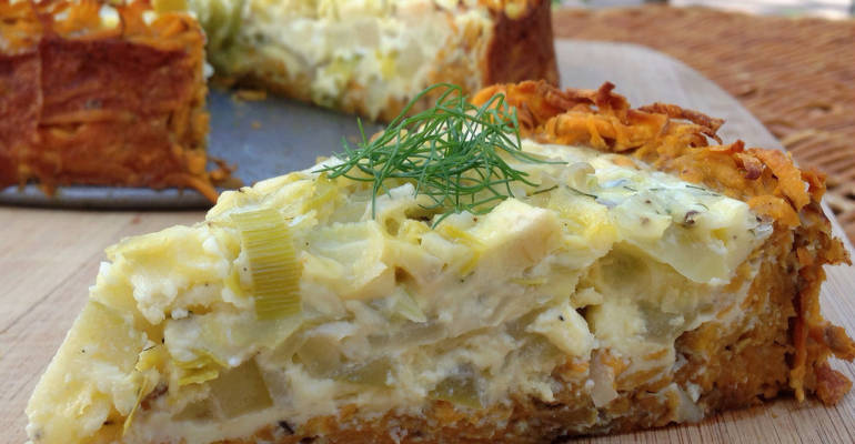 {Almost Paleo} Sweet Potato Crust Quiche with Goat Cheese and Leeks